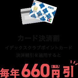 カード決済割 イデックスクラブポイントカード決済割引を適用すると毎年660円(税込)引